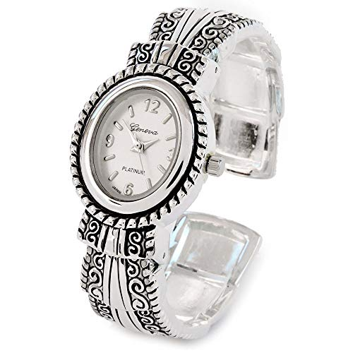 Silver Metal Western Style Decorated Oval Face Women's Bangle Cuff - Western Style Watch Bangle