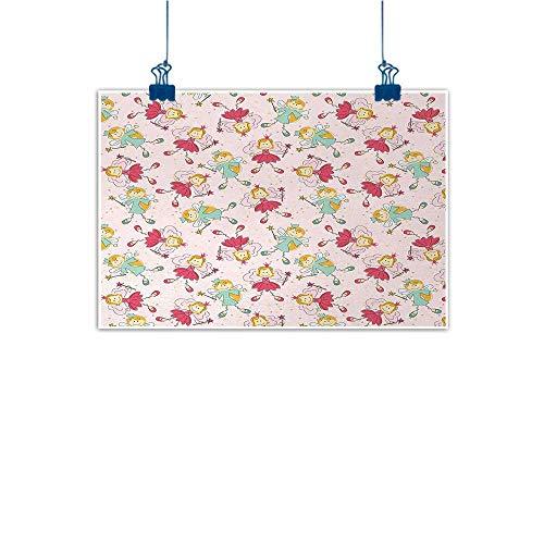 - Decorative Art Print Angel,Princess Fairy Pattern Magical Kids Girls Fantasy Children Cartoon,Rose Pink Mint Green Marigold 36