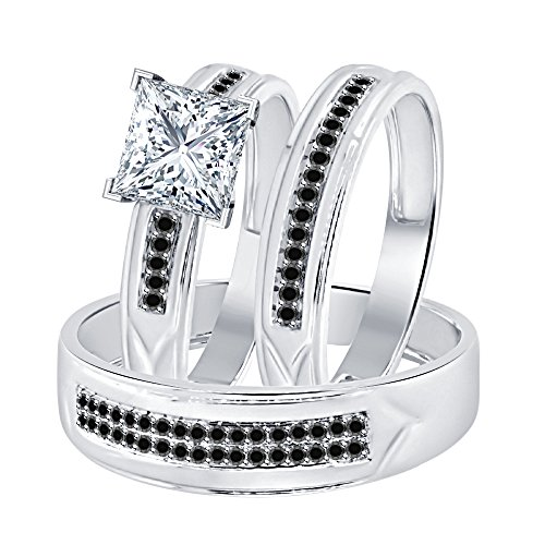 Dabangjewels Princess Cut White & Black CZ Diamond 14k White Gold Over 925 Sterling Silver Wedding Trio Ring Set for Him & Her 14k White Gold Cz Rings