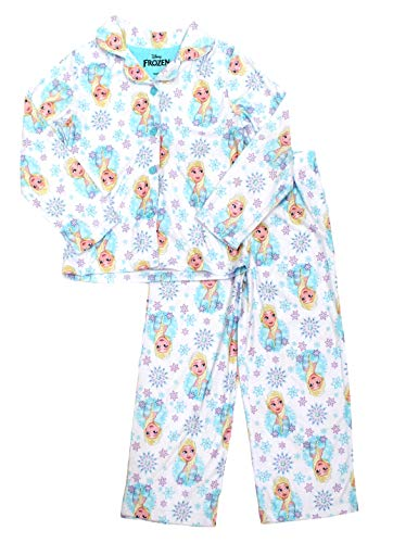 Flannel Coat Style Pajamas - Girls Disney Frozen 2 Piece Coat Style Elsa Brushed Polyester Pajamas, Elsa White, 6