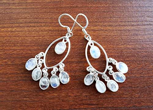 MOONSTONE EARRINGS - RAINBOW MOONSTONE CHANDELIER EARRINGS - STERLING SILVER MOONSTONE DANGLE EARRINGS - MOONSTONE JEWELRY- BOHO EARRINGS