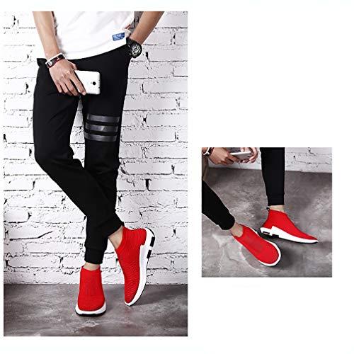 Sport Baskets marche Une Mesh couleur Hommes Chaussures Pour 38 jogging Tricot automne De Printemps Confort Noir gris Taille Respirabilité Rouge Hy Course Paresseuses qF7fvxEx