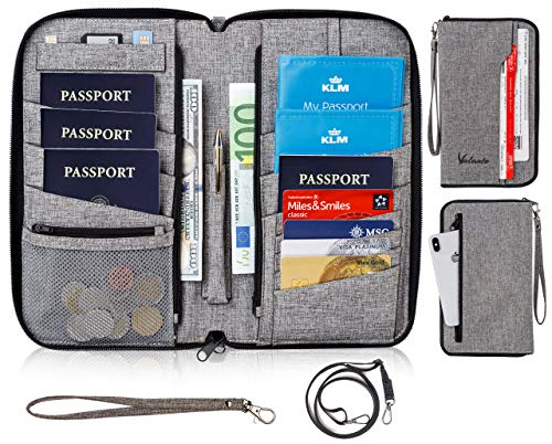 Dual Zip Wallet Organizer - Valante Premium Capacious Family Travel Passport Wallet RFID Document Organizer Holder