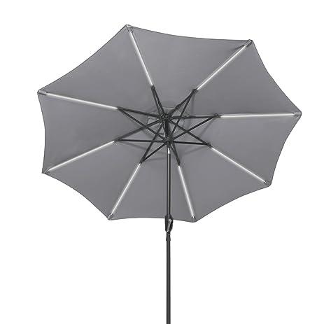 Tangkula 9ft Patio Umbrella Outdoor Garden Tilt Umbrella With Solar Led  Light (Grey)