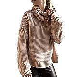 Rela Bota Women's Casual Long Sleeve Turtleneck Oversized Knit Sweater Pullover Tops Medium Khaki