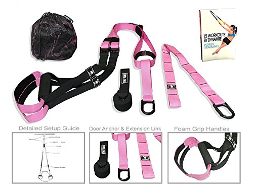 Pink Suspension Straps Fitness Trainer with 15+ EBOOK Workouts by Dynamite Functions as Suspension Exercise System for Crossfit Training