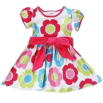 Amazon.com: Little Girls Summer Dress Flower Rainbow Party