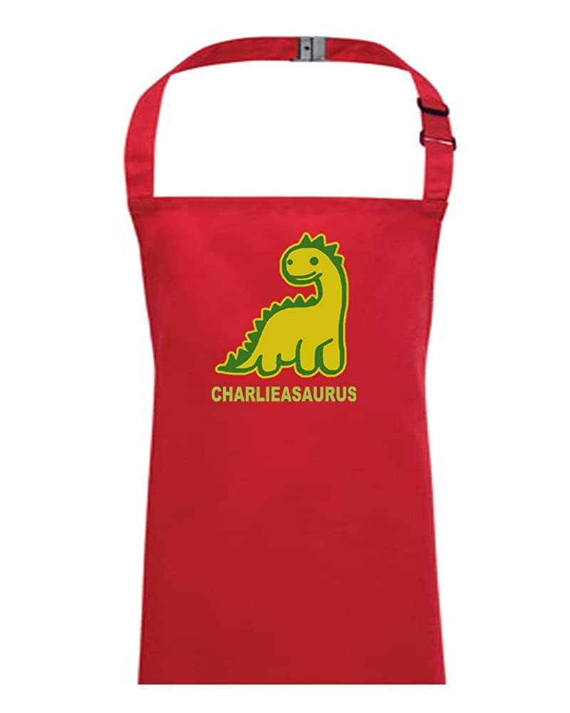 YOUR NAME ASAURUS- Personalised Dinosaur Monster- children's / kids apron from FatCuckoo KA1256