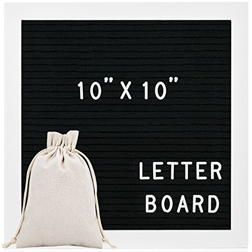 Letter Board 10x10 Inch - Felt Letter Board White Frame, Changeable Letter Boards with 290 Unique Letters, Emojis & Symbols, Wall Mount and Free Drawstring Bag by Ruina R002