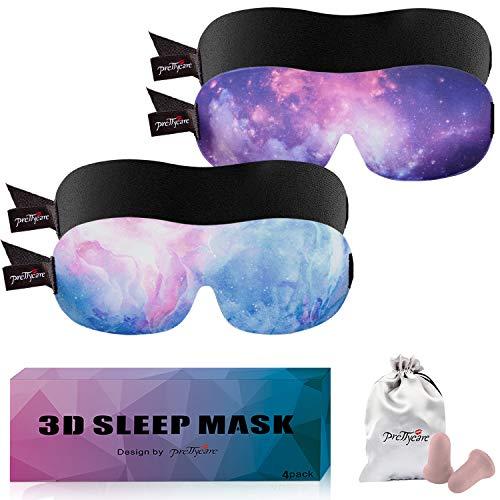 PrettyCare 3D Sleep Mask Aurora Blue & Purple & Black Eye Mask for Sleeping - Best Contoured Blindfold with Ear Plugs,Travel Silk Pouch for Men Women ()