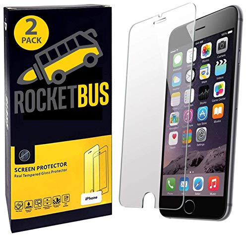 2-Pack RocketBus Real Tempered Glass 5.5-Inch Screen Protector Film for Apple iPhone 8 Plus 7 Plus + Eight Cellphones