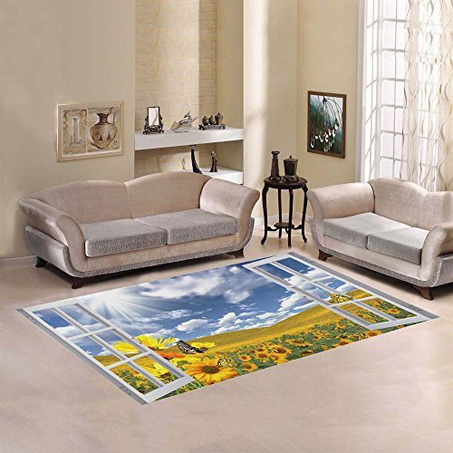 InterestPrint Beautiful Summer SunLandscape with Butterfly Sunflower Area Rug Cover 7 x 5 Feet, Opening Window Modern Carpet Floor Rugs Mat Cover for Children Kids Home Living Dining Room Decoration