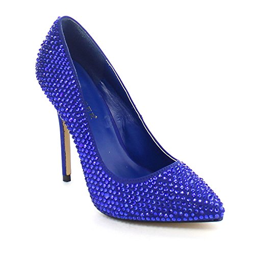 Pleaser USA Shoes - AMUSE - Escarpins Strass (bleu nuit) - PLEASER - 40 - Bleu/Satin