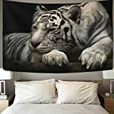 Vipsk White tiger crawling Tapestry Wall Hanging Artistic Polyester Fabric Cottage Dorm Wall Art Home Decoration 60x51 inches Black Wall decoration