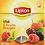 Lipton Tea 5 Fruits Rouges - 5 Red Fruits 4 Lipton Black Tea with 5 Red Fruits Strawberry, Raspberry, Cherry, Redcurrant, Mulberry 20 Pyramid Sachets per box