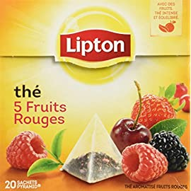 Lipton Tea 5 Fruits Rouges - 5 Red Fruits 39 Lipton Black Tea with 5 Red Fruits Strawberry, Raspberry, Cherry, Redcurrant, Mulberry 20 Pyramid Sachets per box