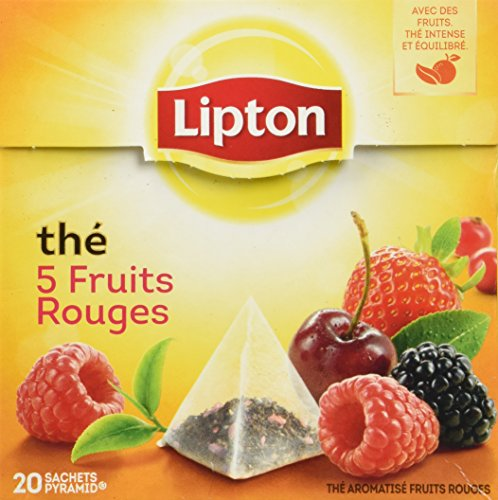Lipton Tea 5 Fruits Rouges - 5 Red Fruits 1 Lipton Black Tea with 5 Red Fruits Strawberry, Raspberry, Cherry, Redcurrant, Mulberry 20 Pyramid Sachets per box