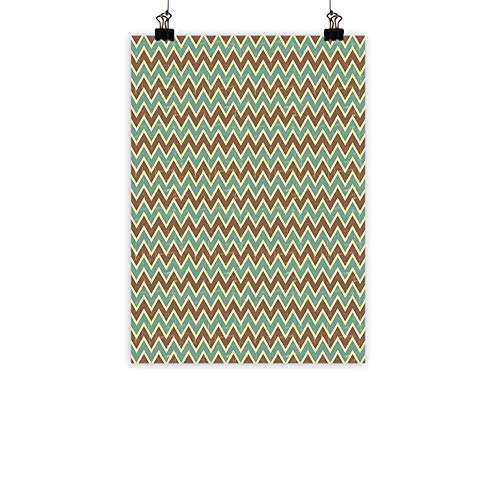 familytaste Brown and Blue Light Luxury American Oil paintingChevron Zigzags Herringbone Pattern with Vintage Worn Look Design Home and everythingSeafoam Yellow Brown 24