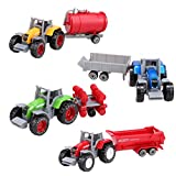 Sherosa 4 Pieces 1:64 Die Cast Model Mini Farm Tractor Cars Vehicle Play Set for Kids