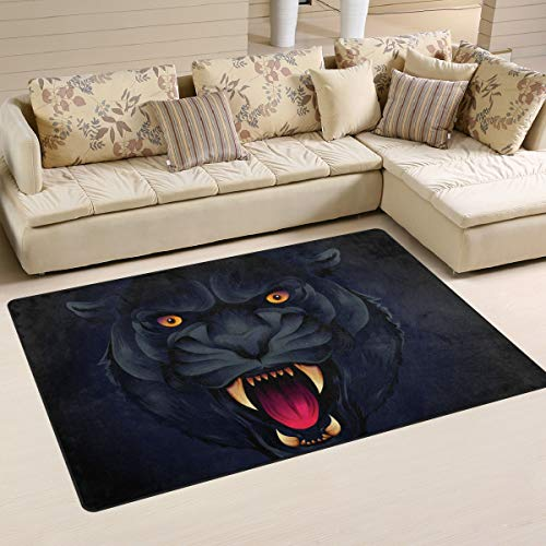 NASEN Tiger Head Area Rug Non Slip Footcloth Washable Carpet Blanket for Living Room Bedroom Dining Room Decor Multi Color with Rubber Backing (60 x 39 in) (Tiger Head Rug)