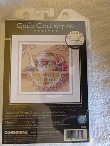 Gold Petite Treasured Friend Teapot Counted Cross Stitch Kit-6x6 18 Count ()