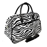 World Traveler Zebra Print Travel Bag, Black and White