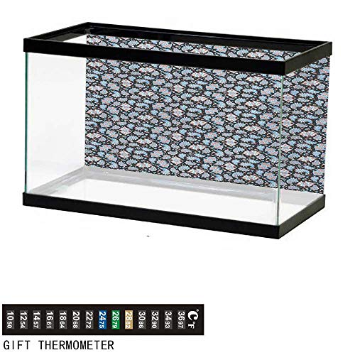 - wwwhsl Aquarium Background,Paisley,Persian Teardrop Motifs with Curved Tip and Curved Stripes Floral Design,Coral Pale Blue Black Fish Tank Backdrop 24