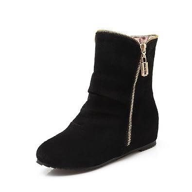 Women's Kitten-Heels Frosted Low-top Solid Zipper Boots