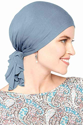 Bamboo Slip-On Pre-Tied Scarf-Caps for Women with Chemo Cancer Hair Loss Luxury Bamboo - Denim