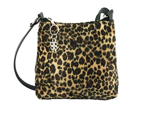- Loni Womens Trendy Animal Print Faux Fur Shoulder Bag/Cross-Body Bag in Leopard Small