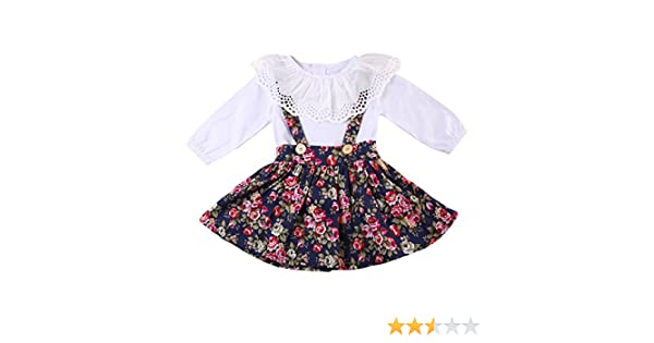 Toddlers 2 piece Suspender Floral Skirt set Long Sleeve Tops Overalls