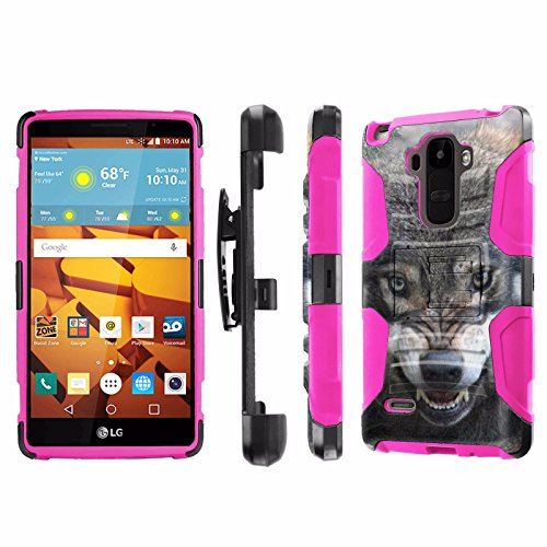 LG G Stylo [LS770 H631] Armor Case [NakedShield] [Black/Pink] Heavy Duty Armor [Holster with Kickstand] Phone Case - [Wolf] for LG G Stylo LS770 -  P-LGLS770-1E7-BKHP-CBT-N426