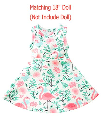Uideazone Doll Clothes for 18 Inch Girl Doll Outfis Flamingo Tutu Sleeveless Dress for 18