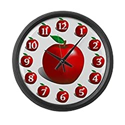 CafePress - Red Apple Fruit - Large 17 Round Wall Clock, Unique Decorative Clock