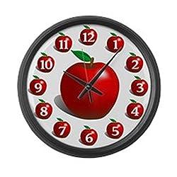 CafePress - Red Apple Fruit - Large 17 Round Wall Clock, Unique Decorative Clock