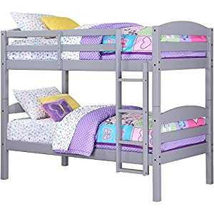 Easy-to-Convert to Twin Bed Practical Space Saver Wood Bunk Bed, Multiple Finishes with Sturdy Frames, Gray