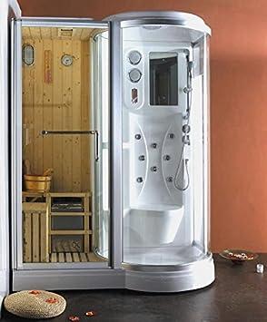 cabina de ducha de hidromasaje x con sauna finlandesa incorporada izquierda