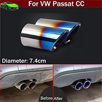 New 2pcs Stainless Steel Car Tailpipe Exhaust Muffler Tail Pipe Tip