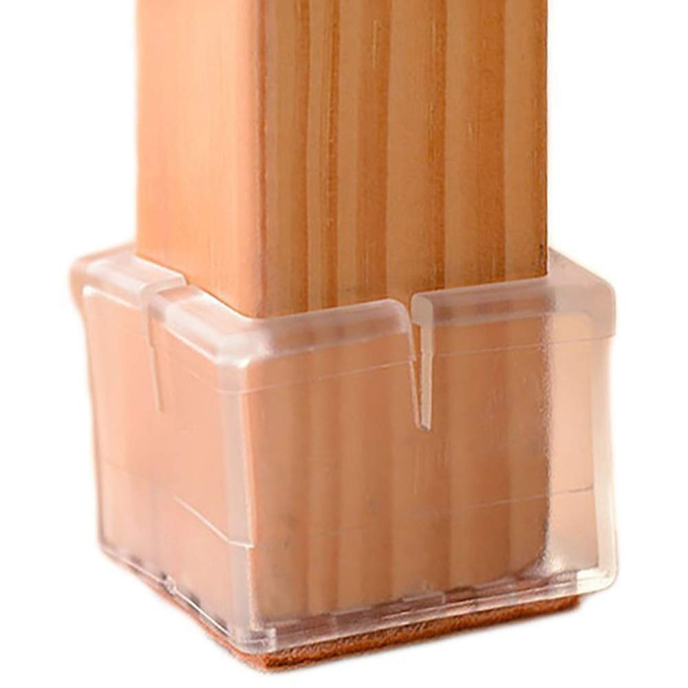 """Chair Leg Floor Protectors Square Furniture Leg Caps 1 1/8 to 1 3/8"""" with Felt Pads Clear (16 Pack)"""