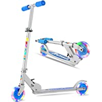 Folding Kick Scooter 2 Wheel Scooter, 3 Adjustable Height, LED Light Up Wheels for Children Ages 5+