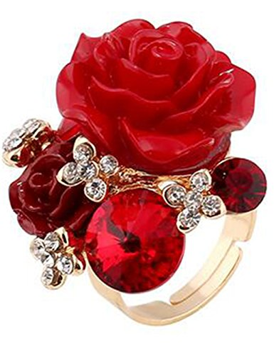 Sweet retro fashion resin rose personality national wind diamond adjusted ring   - Retro Sweet