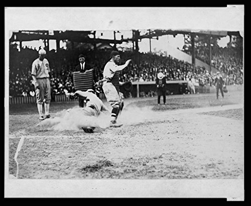 Reproduced 16 x 20 Photo of: Umpire Watches as Base Runner Slides into Home Plate Ahead of The tag During Baseball Game 1920 National Photo Company