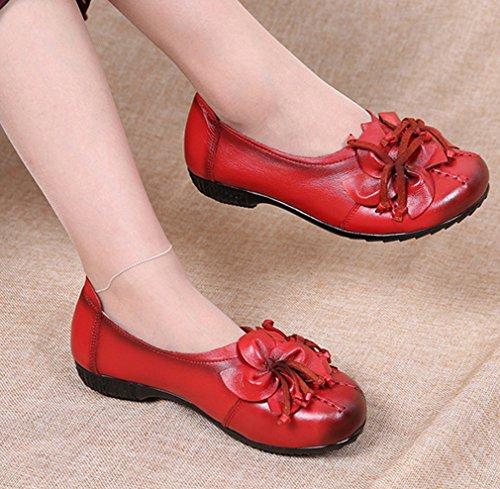 Soojun Mocassins En Cuir Pour Femme Chaussures Plates Slip-ons Avec Fleur  Rouge ... 8ac96df1a83a