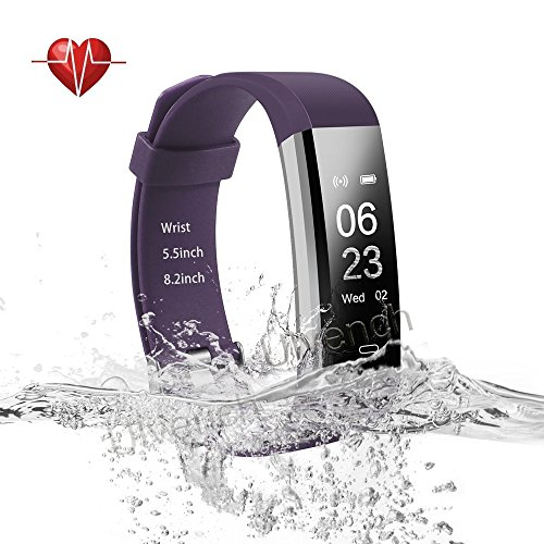 Ulvench Fitness Tracker, Heart Rate Monitor Smart Watch with Calorie Counter Watch Pedometer Sleep Monitor, Step Counter, GPS, IP67 Waterproof Activity Tracker for Android&iOS Smartphone (Purple)