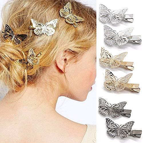 Coobbar 6pcs Hairwear Hair Grips Metal Gold Color Butterfly Hair Clip Hairpins