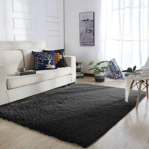 YOH Super Soft Polyester Fiber Area Rugs Silky Smooth Bedroom Mats Fluffy Shaggy Rugs for Living Room Bedroom Kids Room Nursery Home Decor Carpet Popular Colors 4 Feet by 5.3 Feet (Black)