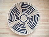 X-Large African Basket / Rwanda Basket / Woven Bowl / Sisal & Sweetgrass Basket / Tan, Black
