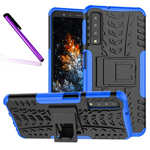 Pattern Tyre - A7 2018 (A750) Case, Tyre Pattern Design Heavy Duty Tough Armor Extreme Protection Case with Kickstand Shock Absorbing Detachable 2 in 1 Case Cover for Samsung Galaxy A7 (2018) SM-A750. Hyun Blue