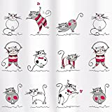 Shower Curtain 180X180 cm Waterproof Peva Material incl. 12 oval Shower Rings Funny Cats