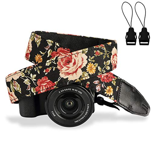 Camera Strap,Eggsnow Universal Camera Neck Shoulder Strap for Mirrorless Polaroid Digital SLR Camera-Brown Flower